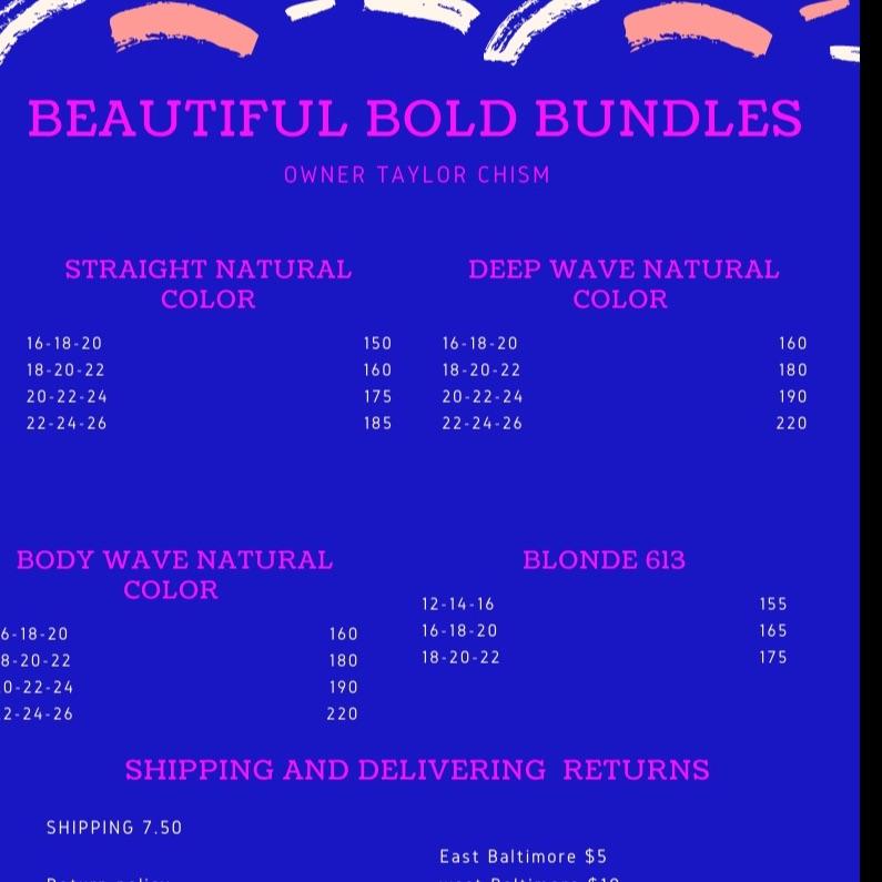 Beautiful bold bundles