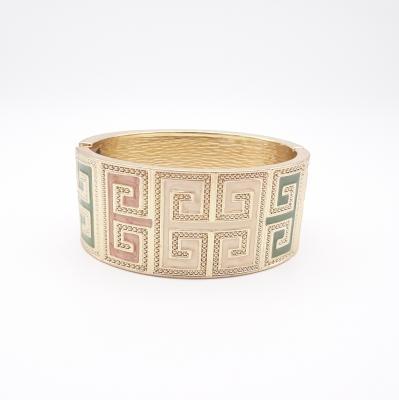 18k Gold Plated Cuff Bracelet Enamel Greek Scrolls