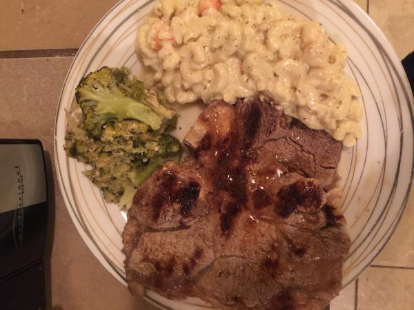 Cajun T-Bone, Shrimp & Lobster Mac & Garlic Broccoli