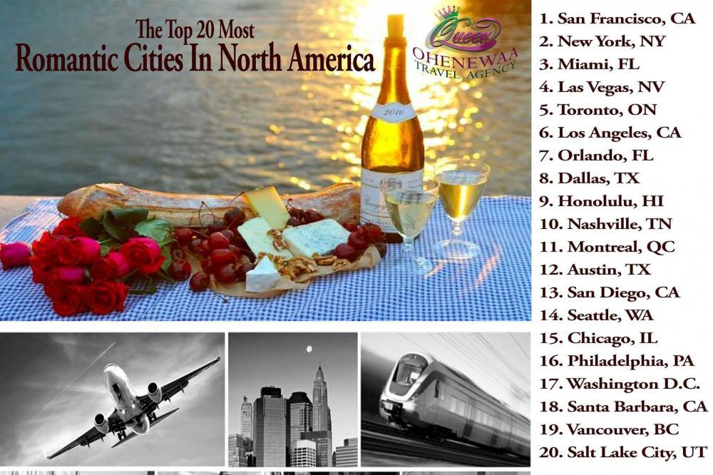 Most Romantic Cites in US and Canada