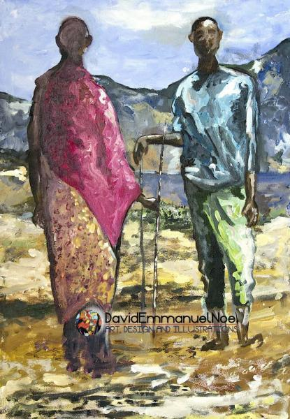 The Conversation by David Emmanuel Noel (Acrylic on Canvas)