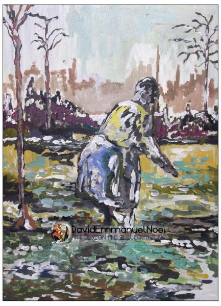 Woman Gardening by David Emmanuel Noel (Acrylic on Canvas)