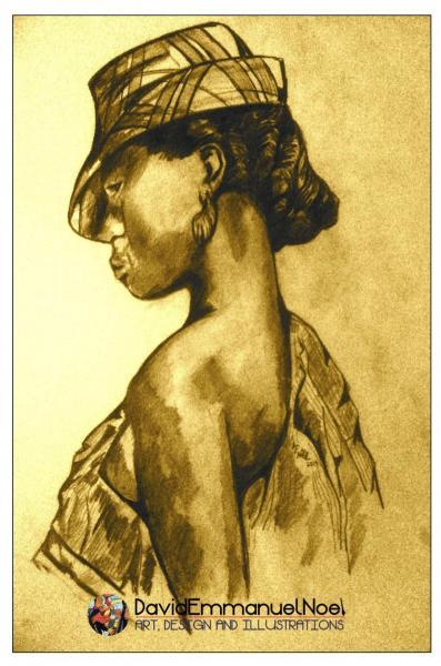 Woman with Hat- (pencil on paper)