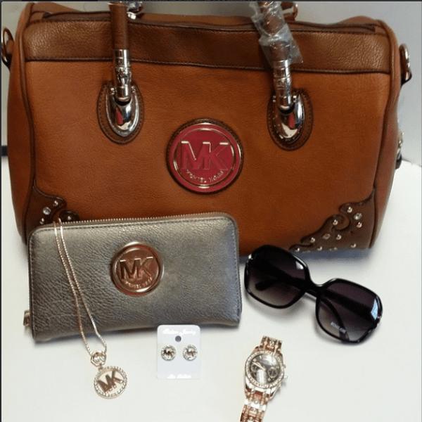 MK purse with MK accessories