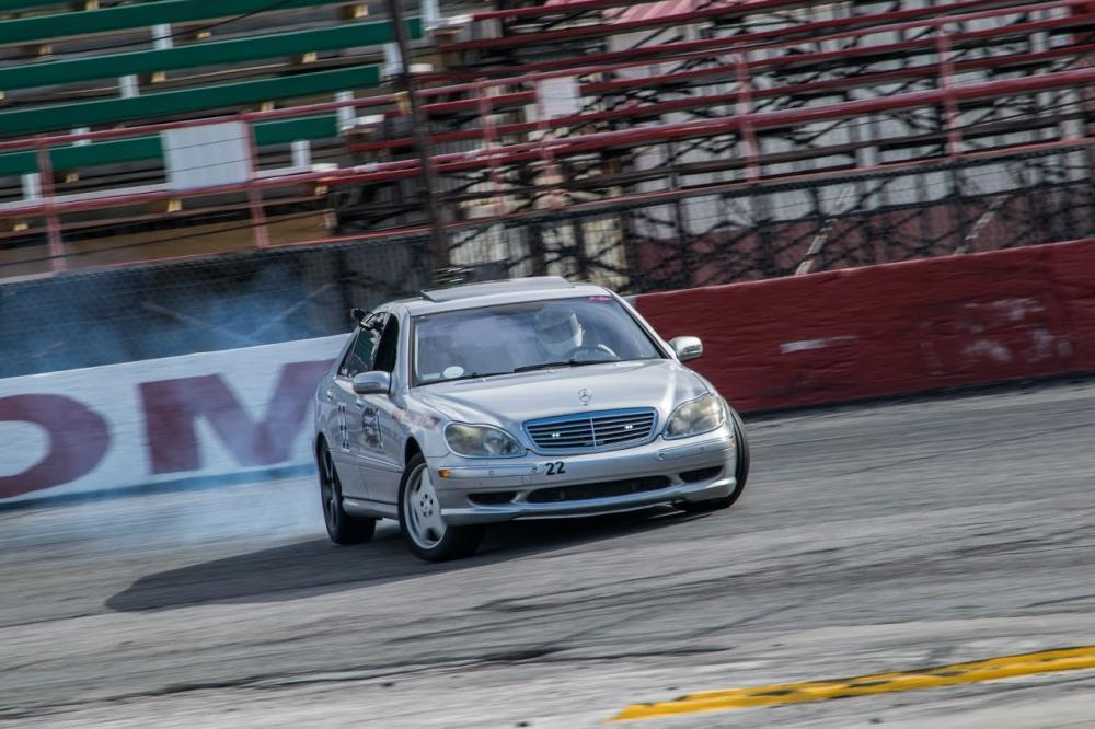 Driver, David Adams, sliding his Mercedes-Benz S600